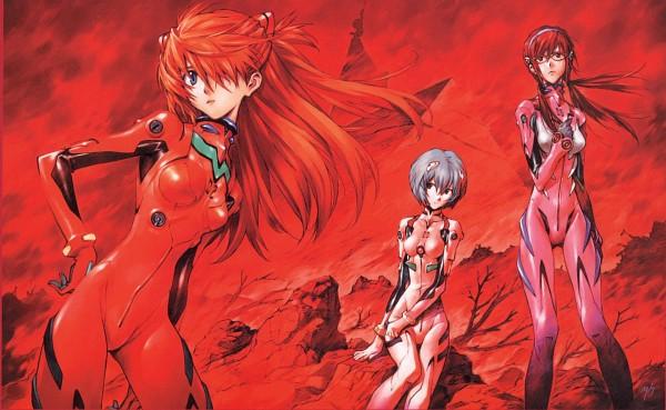 Tags: Anime, Yoshiyuki Sadamoto, Neon Genesis Evangelion, Carmine (Artbook), Makinami Mari Illustrious, Souryuu Asuka Langley, Ayanami Rei, Scan, Official Art, Wallpaper