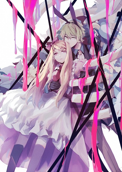 Tags: Anime, Pixiv Id 4836490, New Danganronpa V3, Amami Rantarou, Akamatsu Kaede, Alice (Alice in Wonderland) (Cosplay), Unusual Colored Blood, Alice in Wonderland (Parody), White Rabbit (Cosplay), Pixiv, Fanart, Mobile Wallpaper, Fanart From Pixiv, Danganronpa V3: Killing Harmony