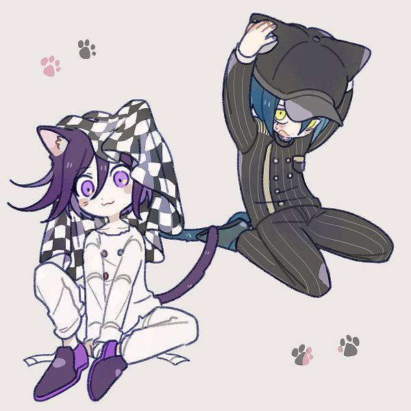 Tags: Anime, Pixiv Id 460180, New Danganronpa V3, Ouma Kokichi, Saihara Shuuichi, Striped Outerwear, Striped Jacket, Striped Pants, Fanart, Twitter, Danganronpa V3: Killing Harmony