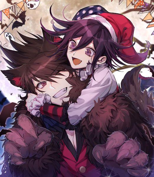Tags: Anime, Pixiv Id 2734062, New Danganronpa V3, Momota Kaito, Ouma Kokichi, Jester Hat, Hug Neck, Pixiv, Fanart, Fanart From Pixiv, Danganronpa V3: Killing Harmony