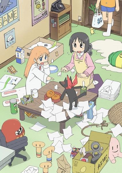 Tags: Anime, Kyoto Animation, Nichijou, Sakamoto (Nichijou), Shinonome Nano, Shinonome Hakase, Crayon, Green Tea, Drawing (Object), Messy Room, Official Art, Mobile Wallpaper