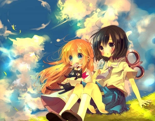Tags: Anime, Shiori (Xxxsi), Nichijou, Sakamoto (Nichijou), Shinonome Nano, Shinonome Hakase, Pixiv, Fanart, Fanart From Pixiv