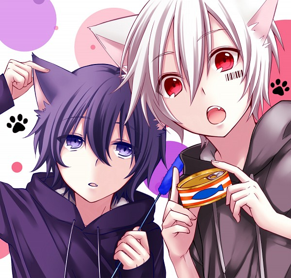 Tags: Anime, Pixiv Id 3345404, Mafumafu, Soraru, Cat Teaser, Barcode, Cat Food, Canned Food, Nico Nico Singer, Fanart From Pixiv, Pixiv, Fanart