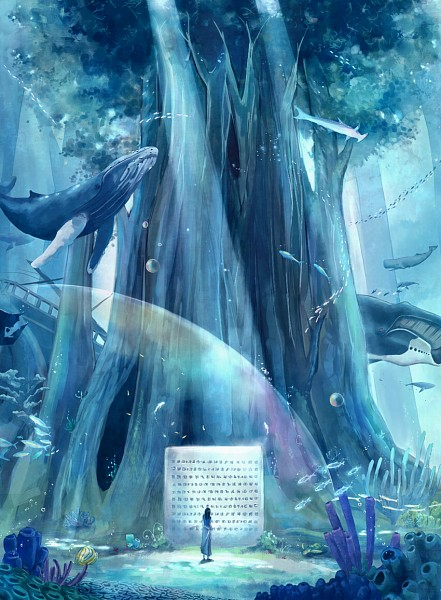 Tags: Anime, Megatruh, ONE PIECE, Nico Robin, Coral, Fishman Island, Shark, Under A Tree, Whale, One Piece: Two Years Later, deviantART, Fanart