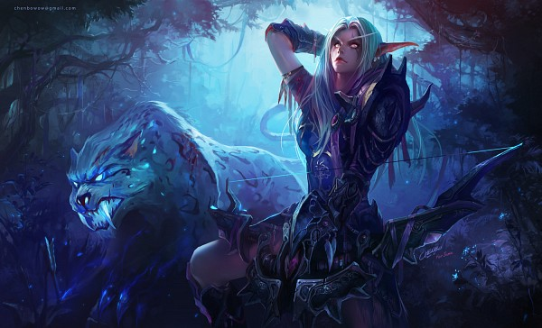 Tags: Anime, Chenbo, Warcraft, Hunter (Warcraft), Night Elf, Purple Skin, Loque'Nahak, Leopard, Hunter, Fanart, Wallpaper