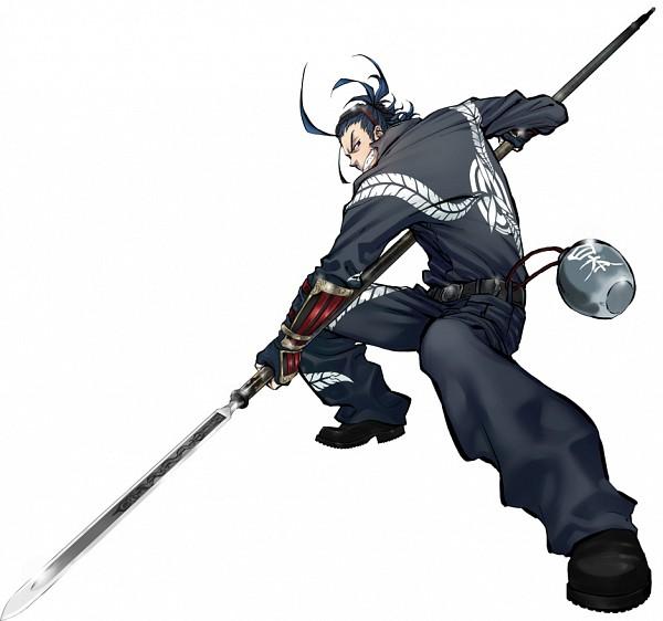 Tags: Anime, Suzuki Jirou, Nitro+, Touken Ranbu, Nihongou, Depth Of Field, Jumpsuit, Yari, Gray Outfit, Sake Bottle, PNG Conversion, Official Art, Cover Image