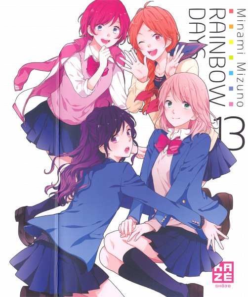 Tags: Anime, Mizuno Minami, Nijiiro Days, Matsunaga Nozomi, Tsutsui Mari, Kobaya Anna, Asai Yukiko, Official Art, Manga Cover, Scan