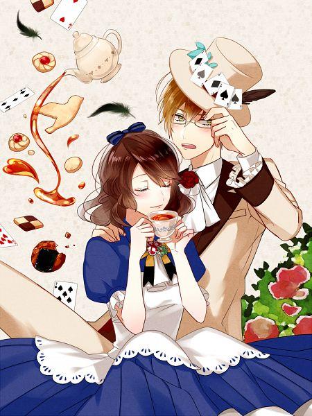 Tags: Anime, Pixiv Id 594825, Nil Admirari no Tenbin, Ukai Shogo, Kuze Tsugumi, Mad Hatter (Cosplay), Alice (Alice in Wonderland) (Cosplay), Pixiv, Mobile Wallpaper, Fanart, Fanart From Pixiv, PNG Conversion