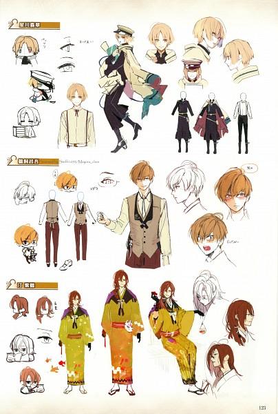 Tags: Anime, Satoi, Otomate, Nil Admirari no Tenbin, Hoshikawa Hisui, Migiwa Shizuru, Ukai Shogo, Character Sheet, Self Scanned, Mobile Wallpaper, Sketch, Scan, Official Art
