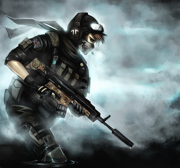 "Tags: Anime, Ninjatic, Jormungand, Call of Duty, Simon ""Ghost"" Riley, Radio, Dripping, Fog, Soldier, Original, deviantART"