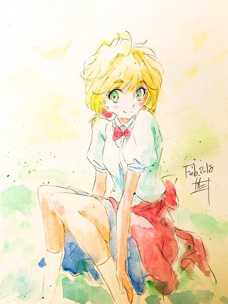 Tags: Anime, Koi wa Ameagari no You ni, Nishida Yui, Fanart, Twitter, Watercolor, Traditional Media