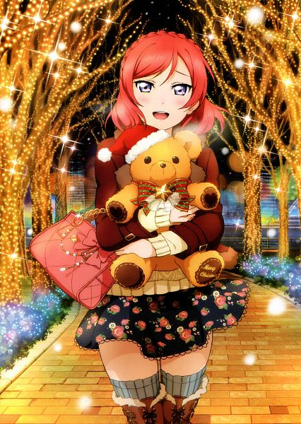 Tags: Anime, Sunrise (Studio), KLab, Love Live!, Love Live! School Idol Festival Official Illustration Book 2, Love Live! School Idol Festival, Nishikino Maki, Hugging Toy, Scan, Mobile Wallpaper, Official Art, Maki Nishikino
