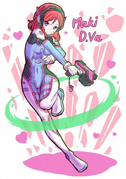 Tags: Anime, Pixiv Id 5301174, Love Live!, Nishikino Maki, D.Va (Cosplay), Overwatch (Parody), Fanart, Mobile Wallpaper, Pixiv