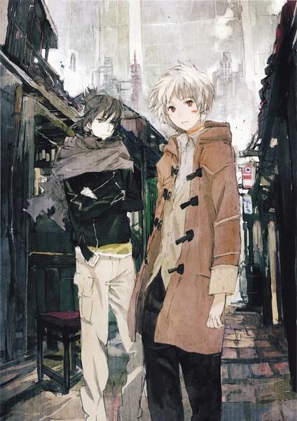 Tags: Anime, toi8, No.6, No.6 Toi8 Design & ArtWorks, Shion (No.6), Nezumi (No.6), Duffle Coat, Mobile Wallpaper, Official Art, Scan