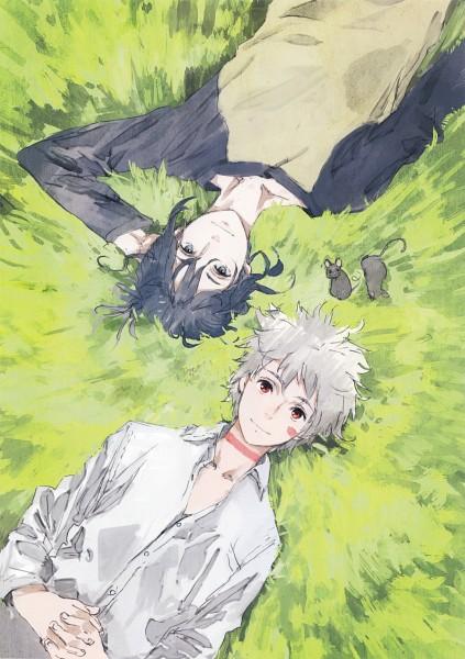 Tags: Anime, toi8, No.6, No.6 Toi8 Design & ArtWorks, Shion (No.6), Nezumi (No.6), Laying on Grass, Mobile Wallpaper, Official Art, Scan