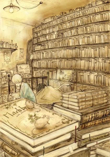 Tags: Anime, No.6, Nezumi (No.6), Cravat (No.6), Hamlet (No.6), Shion (No.6), Stack Of Books, Library, Mobile Wallpaper