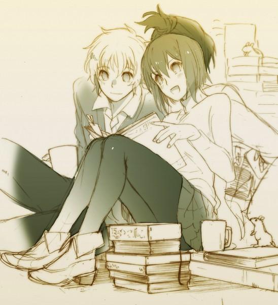 Tags: Anime, Yuriko / ゆりこ, No.6, Nezumi (No.6), Safu, Shion (No.6), Stack Of Books