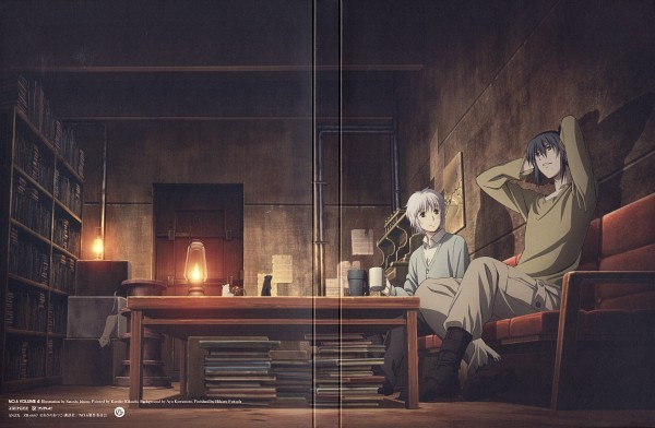 Tags: Anime, Ishino Satoshi, BONES (Studio), No.6, Shion (No.6), Nezumi (No.6), Official Art, Scan, DVD (Source)