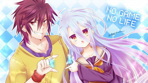 Tags: Anime, Myuukichi, No Game No Life, Shiro (No Game No Life), Sora (No Game No Life), Facebook Cover, PNG Conversion