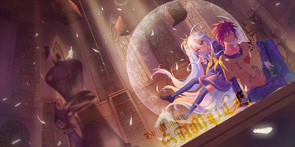 Tags: Anime, Criin, No Game No Life, Shiro (No Game No Life), Sora (No Game No Life), Library, Facebook Cover, PNG Conversion, Pixiv