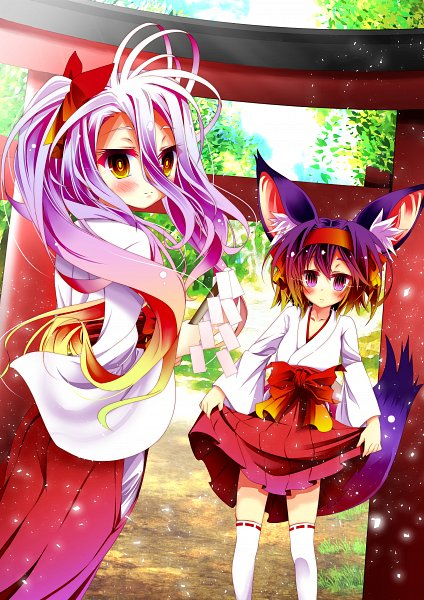 Tags: Anime, Pixiv Id 3758336, No Game No Life, Shiro (No Game No Life), Hatsuse Izuna, Shrine, Fanart, Mobile Wallpaper, Fanart From Pixiv, Pixiv