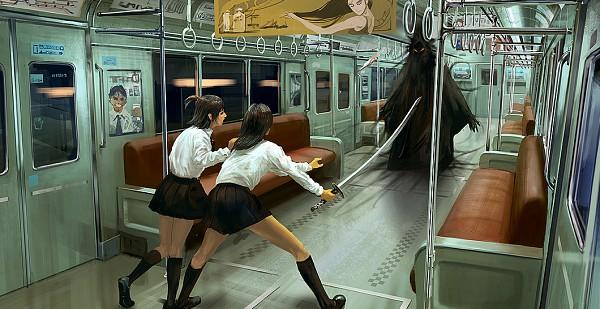 Tags: Anime, Noba, Train Interior, Facebook Cover, Pixiv, Original
