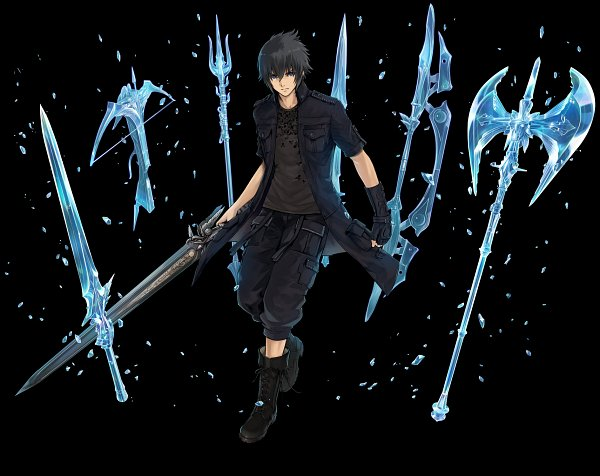 Tags: Anime, Fuji&gumi Games, Dare ga Tame no Alchemist, Final Fantasy XV, Noctis Lucis Caelum, Crossbow, Multiple Weapons, Official Art