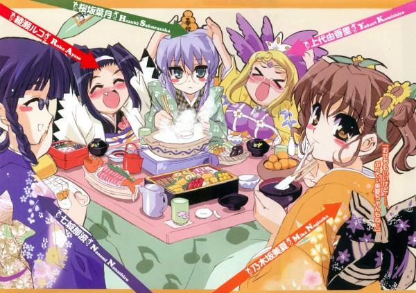 Tags: Anime, Shaa, Nogizaka Haruka no Himitsu, Kamishiro Yukari (Nogizaka), Nogizaka Mika, Ayase Ruko, Sakurazaka Hazuki, Nanashiro Nanami, Sushi, Novel Illustration, Official Art, Haruka Nogizaka's Secret