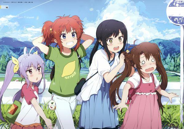 Tags: Anime, Ogipote, Non Non Biyori, Miyauchi Renge, Koshigaya Komari, Koshigaya Natsumi, Ichijou Hotaru, Rice Field, Sign Board, Scan