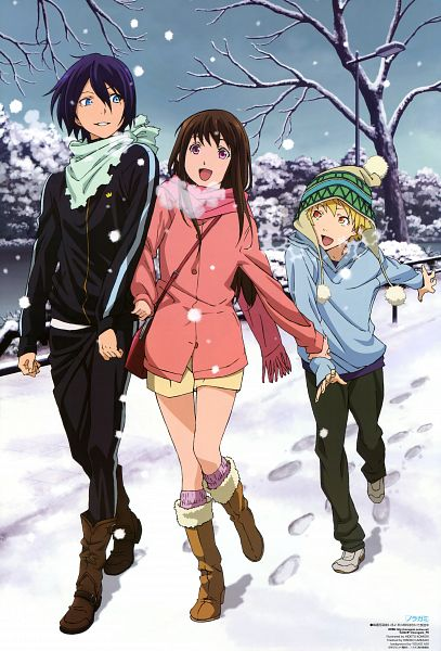 Tags: Anime, Komori Hideto, BONES (Studio), Noragami, Newtype 2014-04, Iki Hiyori, Yukine (Noragami), Yato (Noragami), Official Art, Scan, Mobile Wallpaper