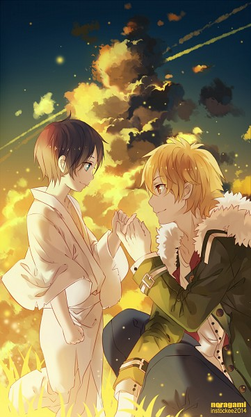Tags: Anime, INstockee, Noragami, Yukine (Noragami), Yato (Noragami), Pinky Promise, Fanart From Pixiv, Pixiv, PNG Conversion, Fanart, Mobile Wallpaper