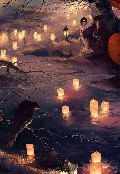 Tags: Anime, Pixiv Id 5051361, Noragami, Nora (Noragami), Yato (Noragami), Black Bird, Paper Lantern, Fanart, Mobile Wallpaper, Fanart From Pixiv, Pixiv