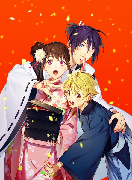 Tags: Anime, Pixiv Id 15106005, Noragami, Iki Hiyori, Yukine (Noragami), Yato (Noragami), Side Bun, Kimono Shirt, Shrimp, Happy 2016, Pixiv, Fanart From Pixiv, Fanart
