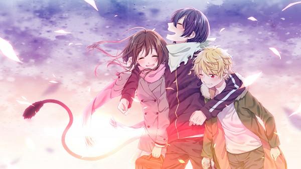 Tags: Anime, Pixiv Id 2946956, Noragami, Yato (Noragami), Iki Hiyori, Yukine (Noragami), Group Hug, Holding Bag, Parka, Lens Flare, PNG Conversion, HD Wallpaper, Wallpaper