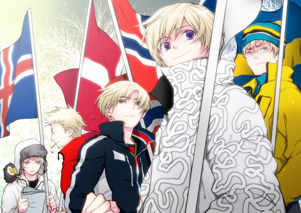 Tags: Anime, Axis Powers: Hetalia, Finland, Sweden, Denmark, Iceland, Norway, Artist Request, Olympics, Nordic Countries
