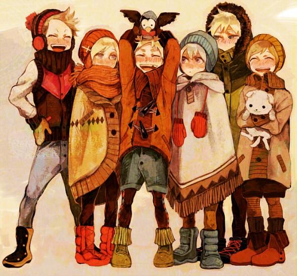 Tags: Anime, Hiroaki (angie), Axis Powers: Hetalia, Sweden, Iceland, Denmark, Norway, Sealand, Hanatamago, Finland, Mr. Puffin, Argyle Legwear, Poncho