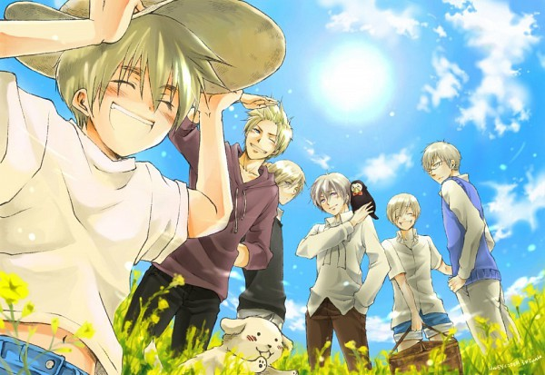Tags: Anime, Pixiv Id 1870405, Axis Powers: Hetalia, Finland, Hanatamago, Sweden, Iceland, Denmark, Norway, Sealand, Grass Field, Pixiv, Nordic Countries