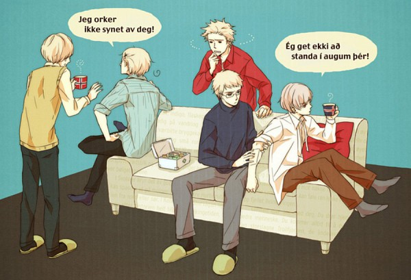 Tags: Anime, Neghy, Axis Powers: Hetalia, Finland, Sweden, Iceland, Denmark, Norway, Hot Chocolate, Grabbing Arm, Pixiv, Fanart, Nordic Countries