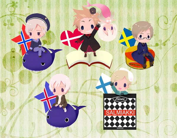Tags: Anime, Axis Powers: Hetalia, Denmark, Iceland, Norway, Finland, Sweden, Whale, Nordic Countries