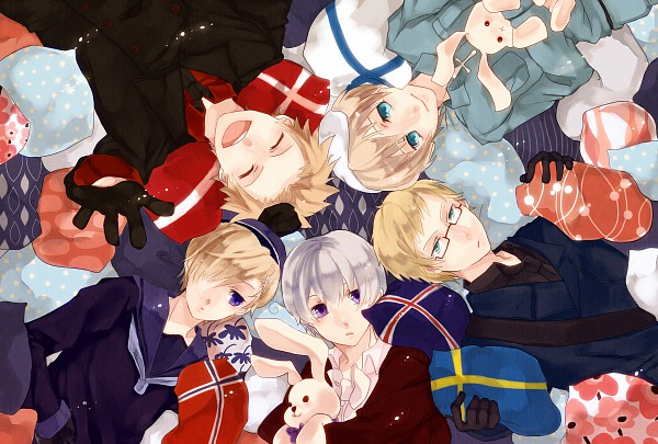 Tags: Anime, Kuranose, Axis Powers: Hetalia, Sweden, Iceland, Denmark, Norway, Finland, Flag Print, Laying in Circle, Pixiv, Fanart, Nordic Countries