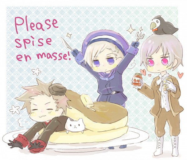 Tags: Anime, Pixiv Id 907250, Axis Powers: Hetalia, Norway, Mr. Puffin, Denmark, Iceland, Pancakes, Jam, Pixiv, Nordic Countries