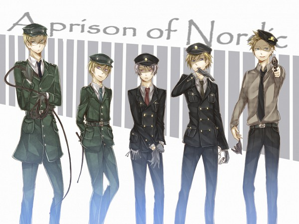Tags: Anime, Axis Powers: Hetalia, Finland, Sweden, Denmark, Iceland, Norway, Riding Crop, Biting Gloves, Nordic Countries