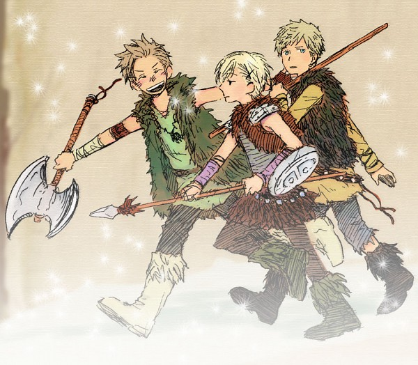 Tags: Anime, Axis Powers: Hetalia, Denmark, Norway, Sweden, Viking, Artist Request, Nordic Countries