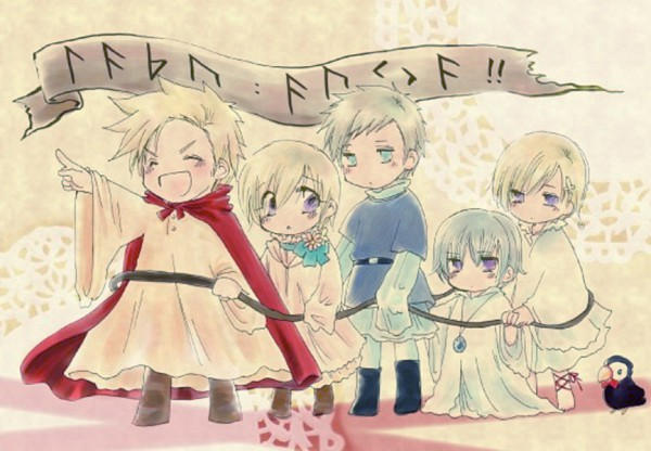 Tags: Anime, Axis Powers: Hetalia, Sweden, Denmark, Iceland, Norway, Mr. Puffin, Finland, Puffin, Nordic Countries