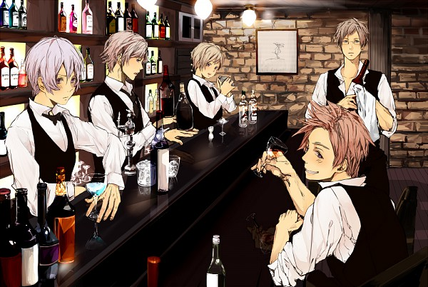 Tags: Anime, Pixiv Id 2071037, Axis Powers: Hetalia, Iceland, Norway, Finland, Sweden, Denmark, Bar, Bartender, Ice Cube, PNG Conversion, Nordic Countries