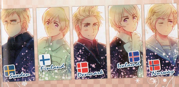 Tags: Anime, Himaruya Hidekaz, Axis Powers: Hetalia, Finland, Sweden, Denmark, Iceland, Norway, Official Art, Facebook Cover, Nordic Countries