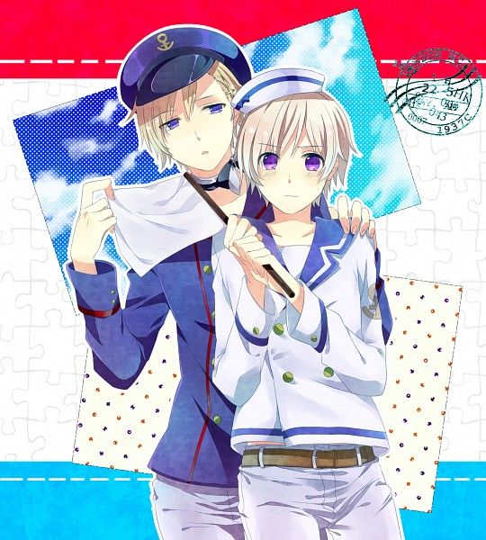 Tags: Anime, Washi (Micino), Axis Powers: Hetalia, Iceland, Norway, White Flag, Pixiv, Nordic Countries