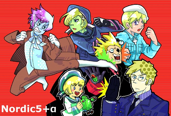 Tags: Anime, Axis Powers: Hetalia, Finland, Sweden, Iceland, Denmark, Norway, Sealand, Robot Toy, Weird, Pixiv, Fanart, Nordic Countries