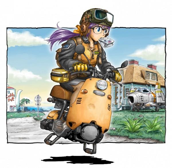 Tags: Anime, Moroyama Q.Ten, Dr.Slump, Norimaki Arale, Aviator Hat, Hover Bike