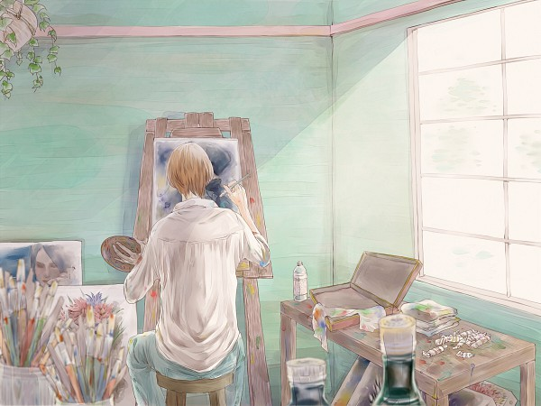 Tags: Anime, Kosokoso, Axis Powers: Hetalia, North Italy, Holy Roman Empire, Germany, Paint Tube, Painting (Object), Brush, Painting (Action), Axis Power Countries, Mediterranean Countries